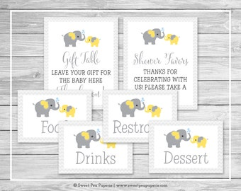 Elephant Baby Shower Table Signs - Printable Baby Shower Table Signs - Yellow and Gray Elephant Baby Shower - EDITABLE - SP103