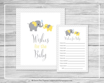 Elephant Baby Shower Wishes for Baby Cards - Printable Baby Shower Wishes for Baby Cards - Yellow and Gray Elephant Baby Shower - SP103