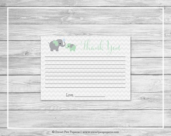 Elephant Baby Shower Thank You Cards - Printable Baby Shower Thank You Cards - Green and Gray Elephant Baby Shower - Thank You Cards - SP104
