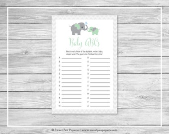 Elephant Baby Shower Baby ABCs Game - Printable Baby Shower Baby ABCs Game - Green and Gray Elephant Baby Shower - Baby ABCs Game - SP104