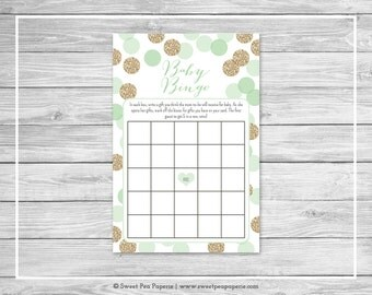 Mint and Gold Baby Shower Baby Bingo Game - Printable Baby Shower Baby Bingo Game - Mint and Gold Baby Shower - Baby Bingo Game - SP108