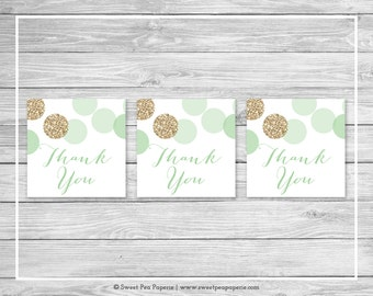 Mint and Gold Baby Shower Favor Thank You Tags - Printable Baby Shower Thank You Tags - Mint and Glitter Baby Shower - Favor Tags - SP108