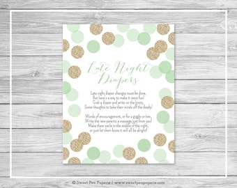 Mint and Gold Baby Shower Late Night Diapers Sign - Printable Baby Shower Late Night Diapers - Mint and Gold Baby Shower - SP108