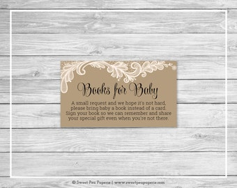 Tan and Lace Baby Shower Book Instead of Card Insert - Printable Baby Shower Books for Baby - Tan and Lace Baby Shower - SP112
