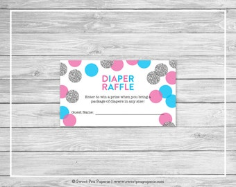 Pink and Blue Gender Reveal Diaper Raffle Insert - Printable Gender Reveal Diaper Raffle Cards - Pink Blue Silver Gender Reveal - SP113