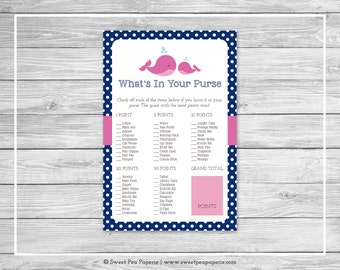 Whale Baby Shower What's In Your Purse Game - Printable Baby Shower What's In Your Purse Game - Pink Whale Baby Shower - Purse Game - SP128