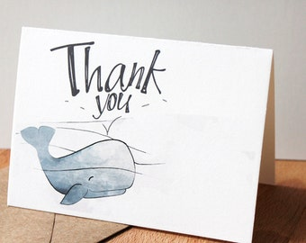 Whale Thank you Cards  - Nautical Card, Blue Whale Thank You Note - SET OF 25