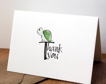 Turtle Thank you Card - Forest Animal Card, Baby Animal Thank You Note