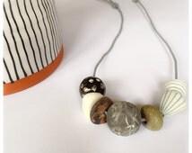 Handmade ceramic stoneware bead necklace