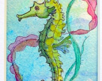 Seahorse, Original Watercolour ACEO.