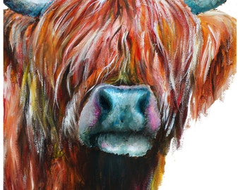 Highland Cow painting, Highland Cow print, Cattle Painting, Cow Painting, Farm Painting, Digital Print of Original Acrylic Canvas Painting