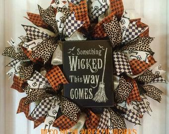 Halloween Wreath, Halloween Wreaths, Witch Wreath, Wicked Wreath, Burlap Wreath, Mesh Wreath, Paper Mesh Wreath, Deco Mesh Wreath, Halloween