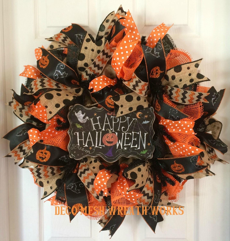 Halloween Wreath Halloween Wreaths Mesh Wreaths Burlap