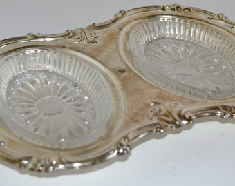 Double sided Crystal dish with silverplate