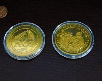 Vintage Million Dollar Quartet Cased GOLD COIN December 1956 Elvis Presley Johnny Cash Jerry Lee Lewis Carl Perkins RCA Rare Collectible!