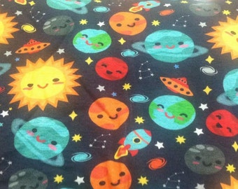 Space print fabric etsy for Outer space fabric by the yard
