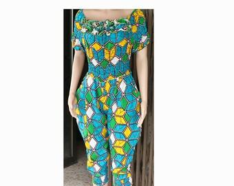 African Print Jumpsuit, Ankara JumpSuit, African print Romper, African Clothing, Jumpsuit, women jumpsuit, custom made Jumpsuit