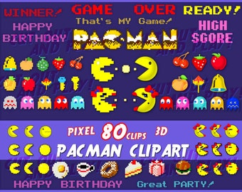 Pacman clipart, arcade clipart, pixel clipart, pacman party, gamer, birthday, invitation, arcade games, scrapbooking, printable, 80s, png