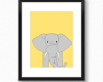 Safari nursery art, elephant kids wall print, zoo nursery print, animal nursery decor for kids bedroom, art for kids