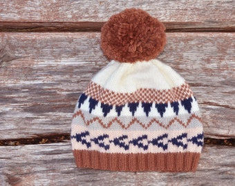 Hat camel, white blue pink and PuTTY powder - knitted hand