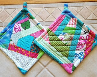 Paired Crazy Quilt Design Large Potholders and Hotpads