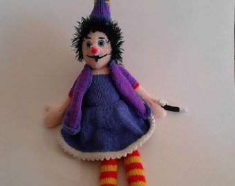 Winnie The Witch Doll Knitting PDF Pattern, Knitted Witch Toy Pattern
