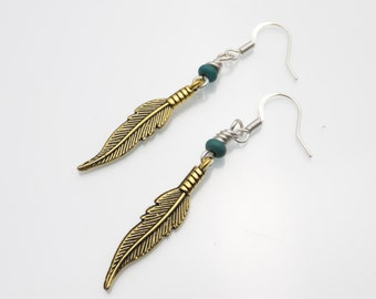 Gold Feather and Turquoise Earrings | Handmade Earrings | Gold Earrings | Feather Jewelry | Feather Trend | Feather Earrings | Feathers