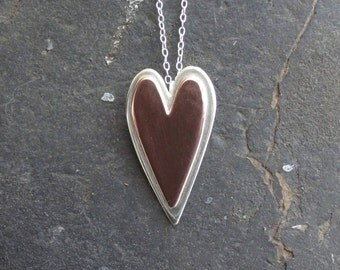 Handmade sterling silver and copper layered heart pendant necklace