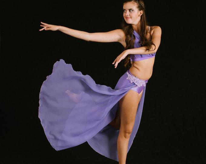 Lavender chiffon Lyrical Dance Costume, chiffon lyrical dance costume, dance costume with long chiffon skirt