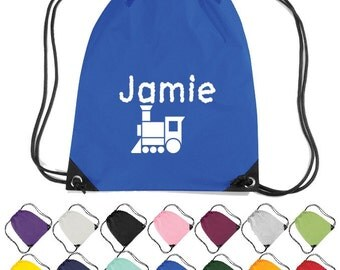Personalised Train Themed Drawstring Bag. Nursery, School, Craft Bag  * Free Delivery *