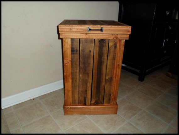 Kitchen Waste Basket Holder: Garbage Can Wood Trash Can Rustic Home By OurTwistedCreations