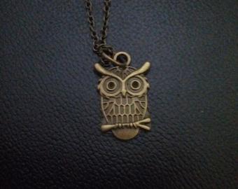 Bronze owl necklace-owl jewelry- owl pendant