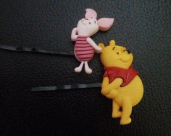 Inspired Winnie the pooh & Piglet bobby pins-Piglet bobby pin-Winnie the pooh bobby pin