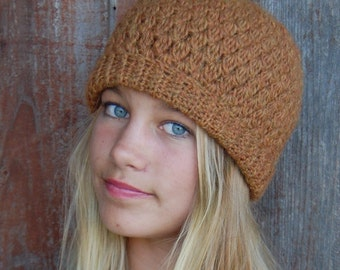 Slouchy or beret style hat.  Multiple ways to wear it