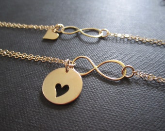 Mother and  Daughter infinity heart bracelets,Mother and daughter jewelry,Gift for Mother of one,Golden bronze