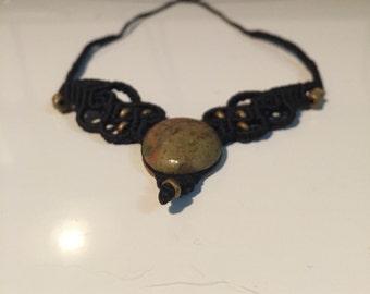 Handmade woven black necklace statement piece with gemstone