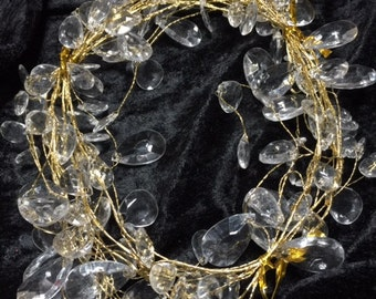 5 ft Wire Gold Coiled Garland with clear fake crystals (02)