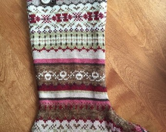 Upcycled Fair Isle Christmas Sweater Stocking, Red, Tan, White, Jade & Brown, Old Buttons