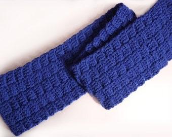 Blue Crocheted Basketweave Scarf