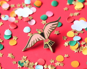 Pin bird - coral - hard enamel - lapel pin - pin badge