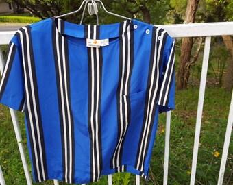 Liz Claiborne Blue and Black Striped Crop Blouse