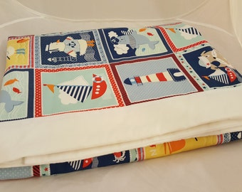 Baby Blanket - Baby Comforter - Baby Quilts - Toddler Blanket - Toddler Comforter - Toddler Quilts - Light House Sailor Friends *R13*