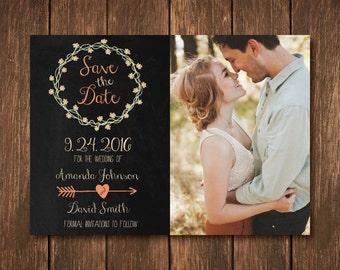 Rustic Save the Date - Chalkboard - Wedding