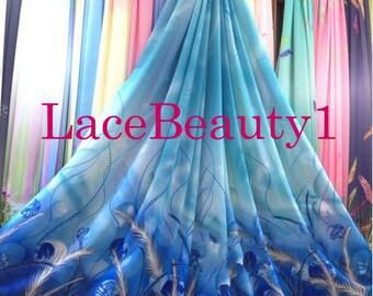 Blue/pink chiffon with printing patterns soft chiffon venice chiffon floral chiffon fabric apparel chiffon dress chiffon vintage chiffon