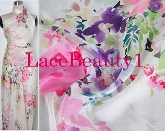Colorful silk chiffon with printing flowers soft silk chiffon venice chiffon floral chiffon fabric apparel chiffon vintage chiffon