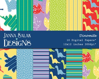 Dinosaur Digital Papers, Dinosaur Scrapbook Papers INSTANT DOWNLOAD - 12 jpg files 12x12