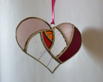 Rosy heart stained glass suncatcher