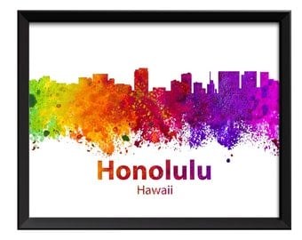Honolulu Skyline Hawaii Colorful Watercolor Cityscape Poster Print Modern Abstract Landscape Art Painting Red Purple Pink Yellow Green