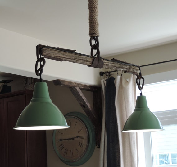 Vintage And Industrial Lighting From Etsy: Yoke And Mint Green Vintage-Inspired Barn Light By