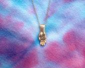 Brass Hand on Brass Chain